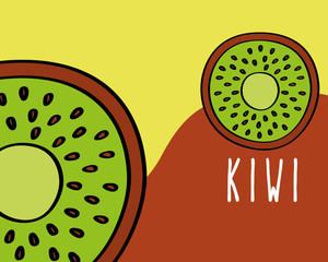 kiwi fruit tropical fresh natural on colored background vector illustration
