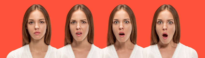 Wow. Collage about development of emotion. Stages of surprise. Female portrait isolated on red. Young emotional surprised woman standing with open mouth. Human emotions, facial expression concept.