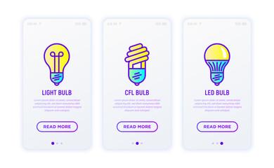 Lighting thin line icons set: light bulb, LED, CFL. Modern vector illustration for user mobile app.
