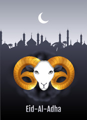 Eid al Adha text greeting card. Gold ram head of sheep. Feast of Sacrifice
