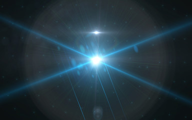 Anamorphic blue lens flare isolated on black background for overlay design or screen blending mode