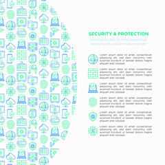 Security and protection concept with thin line icons: mobile security, fingerprint, badge, firewall, face ID, secure folder, shredder, bank safe, encrypted messaging. Modern vector illustration.