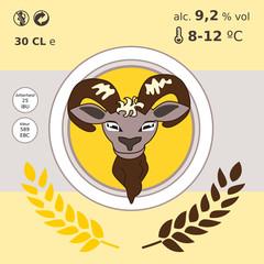 bieretiket met bok kop - voor flyer bierfilt bieretiket of bockbierfestival