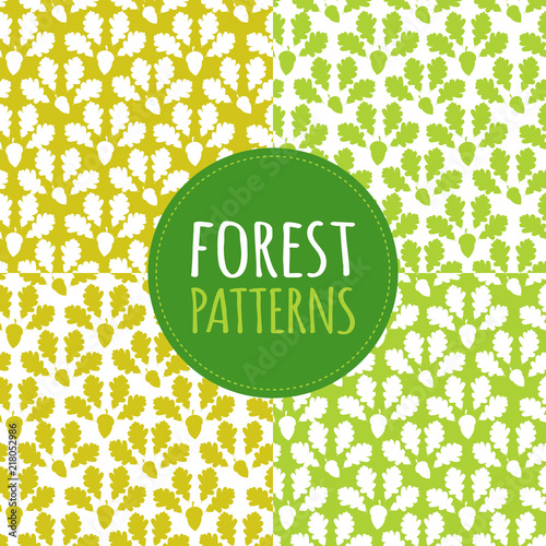 Green forest patterns set vector seamless  Acorns and oaks leaves