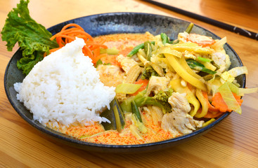 Asian Street Food chicken with rice and vegetables