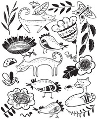 Cute set with cat and chiken. Floral summer collection with farm animals and insects. Vector illustration