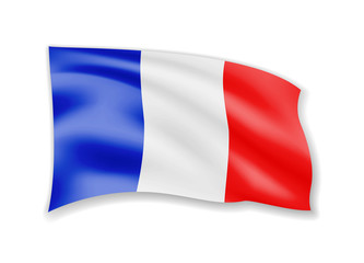 Waving France Flag on white. Flag in the Wind.