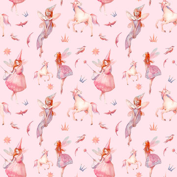 Watercolor fairytale seamless pattern. Hand painted pixie and unicorn repeating ornate on pastel pink background. Cartoon fairy girls with wings art
