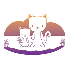 cute cats in the grass over white background, vector illustration