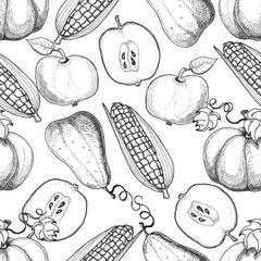 Hand drawn seamless pattern. Autumn harvest. Corns, apples, pumpkins.