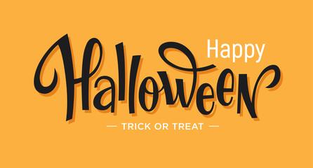 Happy Halloween lettering on orange background.