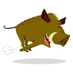 Cute boars or warthog character with acorn. Vector illustration with running wild pig.