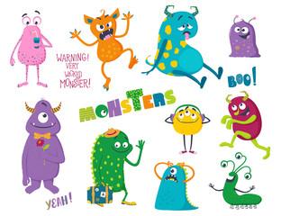 Cute cartoon monsters. Vector illustration