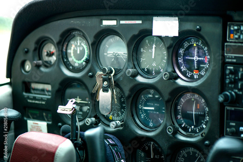 Detail of old airplane cockpit  Aircraft equipment, various
