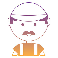 cartoon man with cap and mustache over white background, vector illustration