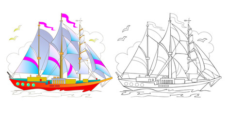 Colorful and black and white pattern of beautiful yacht. Worksheet for children and adults. Vector image.