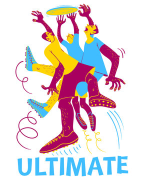 Ultimate frisbee players. Men catching flying disc. Sport competition. Flat style cute vector illustration
