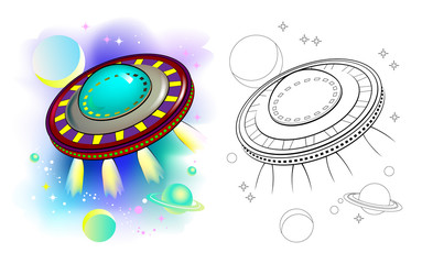 Colorful and black and white pattern of fantastic flying saucer. Worksheet for children and adults. Vector image.