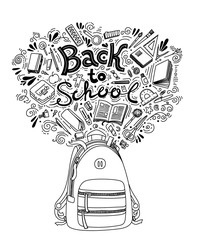 Back to school thin line doodle illustration template isolated on white background. Sketchy concepts with stationery for graphic design, web banners, printed materials. Writing materials.