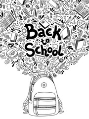 Back to school thin line doodle illustration template on white background. Sketchy concepts with stationery for graphic design, web banner and printed materials. Writing materials. illustration.