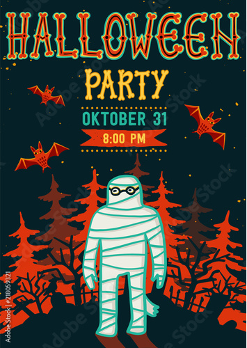 invitation to halloween night party vintage card with mummy