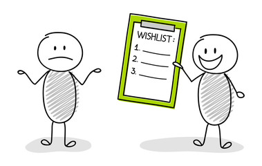 Group of stickmen showing clipboard with empty wishlist. Vector