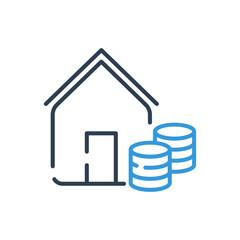 Line art icon vector. Home Mortgage