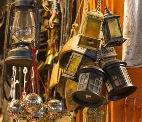 Arabian lamps at  Mutrah Souq, in Muscat, Oman