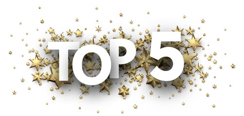 Top 5 sign with gold stars. Rating header.