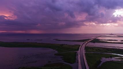 Storm at sunset on Mobile Bay along Alabama Gulf Coast