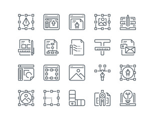 Simple line icon set of Art and Design for website mobile app and more .Editable Stroke.