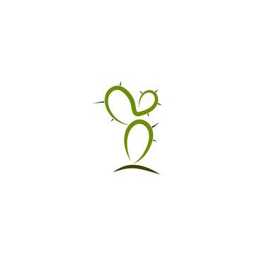 Simple abstract cactus logo, icon vector design element