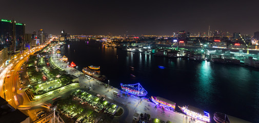 Panoramic view of Dubai from a Deira skyscraper