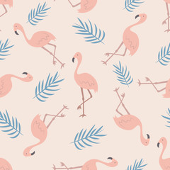 Beach tropical seamless pattern with flamingos