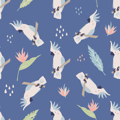 Beach tropical seamless pattern with cockatoos