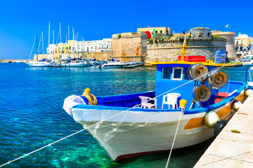 Old port of Gallipoli, view with castle amd boats, Puglia , Italy Wall mural