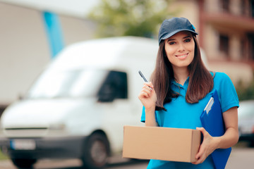 Delivery Worker with Cardboard Box Package and Paper Documents