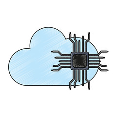 Microchip and cloud computing vector illustration graphic design