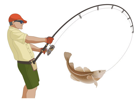 angling fishing, fisherman catching fish using fishing pole and lure, isolated on a white background