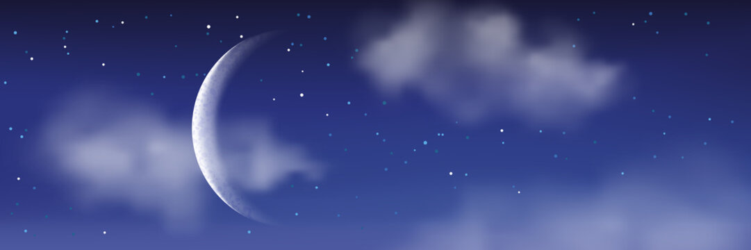 Vector realistic illustration of night cloudscape. Moon, stars, clouds on blue sky. Romantic landscape background