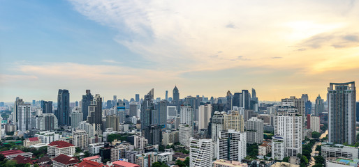 urban cityscape on evening sky and sun light