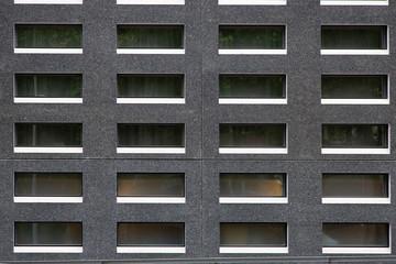 Parete di un palazzo moderno con finestre rettangolari