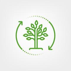 Reforestation symbol. Tree in circular arrow vector illustration