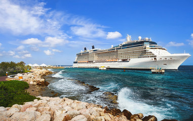 Cruise ship in port on sunny day
