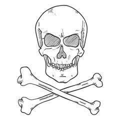Vector Sketch Pirate Symbol - Skull with Cross Bones