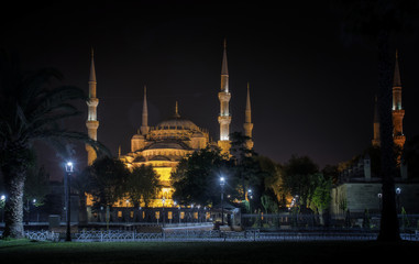 Night view of Sultanahmet Mosque or Blue Mosque on in Istanbul,Turkey.