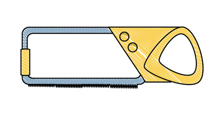 Hand saw icon over white background, vector illustration