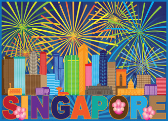 Singapore City Skyline Fireworks Color vector  Illustration