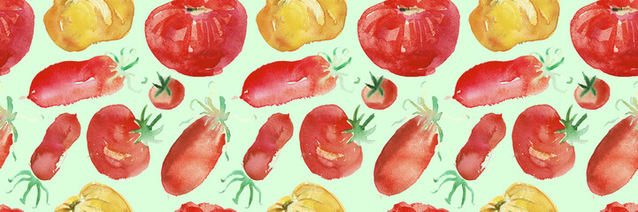 Tomato seamless pattern and vegetable background with a natural watercolor illustration of tomatoes and paper textures.