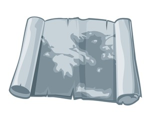 Map in ancient scroll. Vector flat illustration.